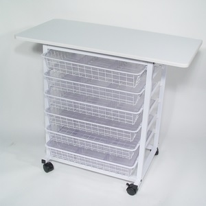 Binding station heavy duty metal frame, with epoxy white finish with 6 slide in drawers, allowing easy storage and access of your binding supplies