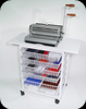 Binding station provides ample space for binding equipment and supplies, giving you an efficient working area