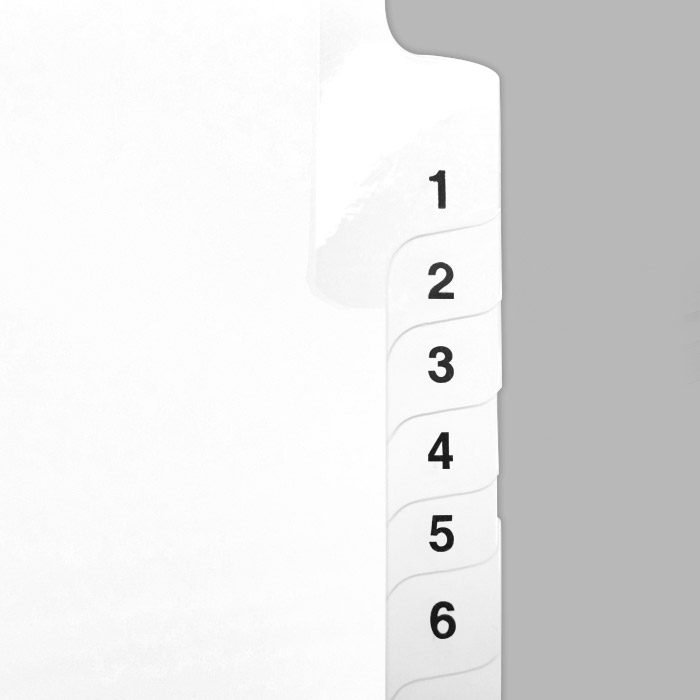 Index Tabs Collated Number Tabs