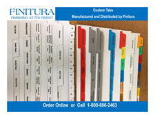 Custom Printed Index Tabs -17 Tab Set